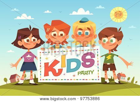 Kids party. Cartoon background. Vector illustration.