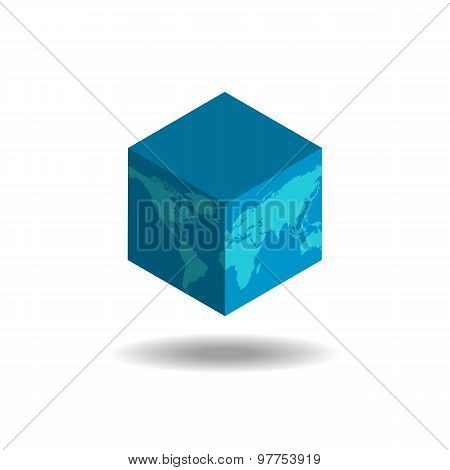 Square 3D Earth Globe, political Business Background