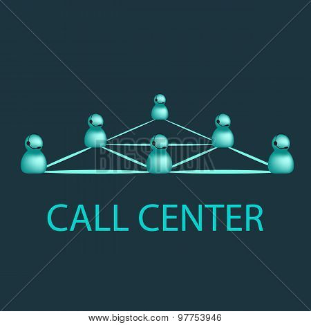 Call Center Emblem, Support call-center Logo Design