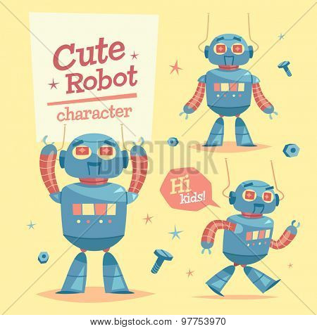 Cartoon robot character. Vector illustration.