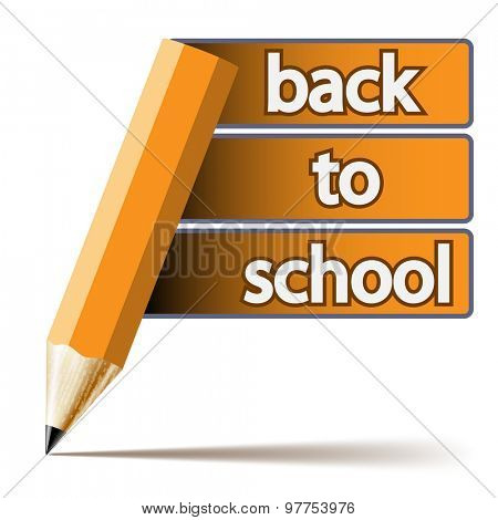 Abstract pencil inscription Back to School on white background.  Illustration.