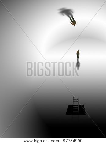 Man in surreal white space