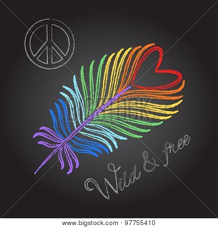 Rainbow feather and peace sign Wild And Free quote