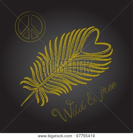 Gold feather and peace sign