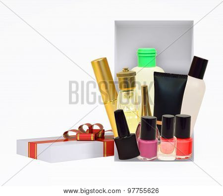 Gift box with cosmetics on white