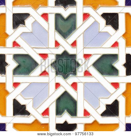 Traditional andalusian ceramic tile close-up