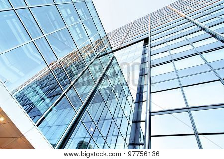Glass walls of a office building - business background