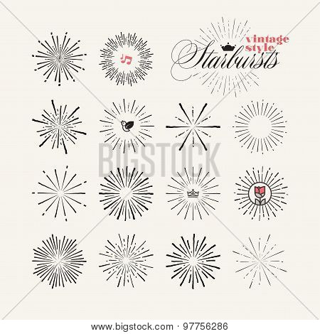Collection of vintage style starburst hand drawn elements