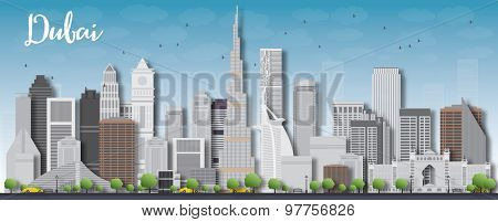 Dubai City skyline with grey 3d skyscrapers and blue sky