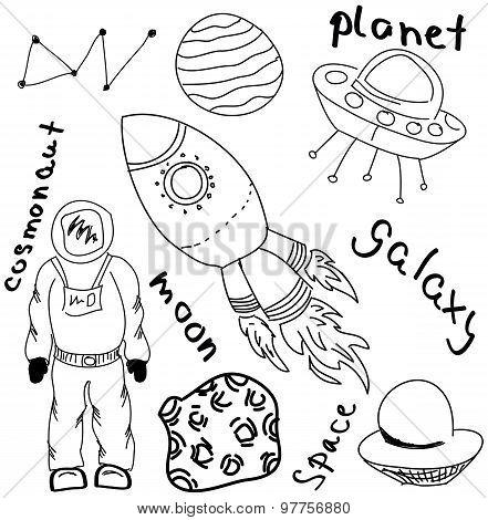 Drawn cosmonaut