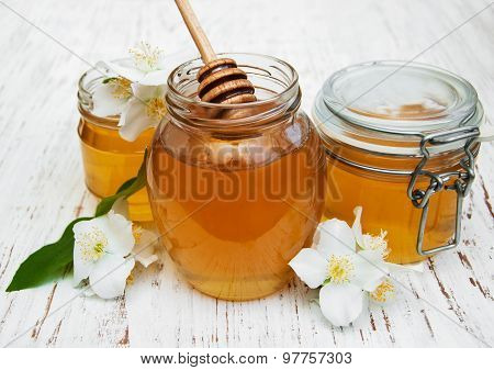 Honey With Jasmine Flowers