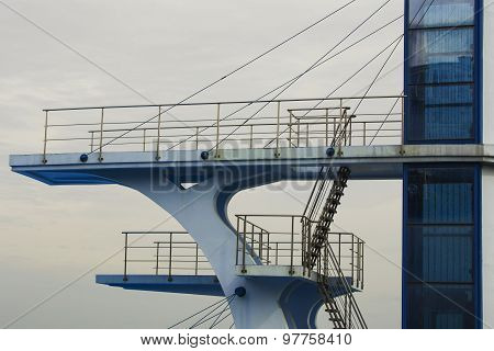 Diving tower on blue sky