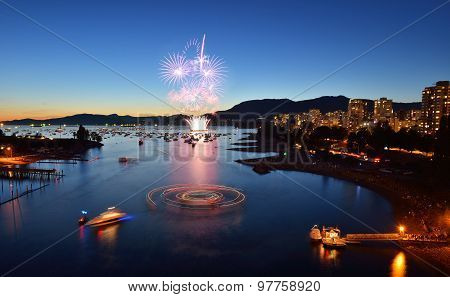 Fireworks Display At English Bay