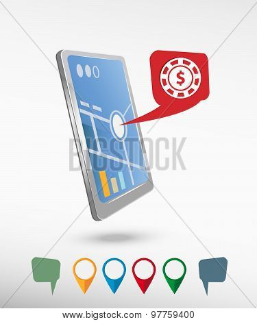 Casino Gambling Chips Icon And Perspective Smartphone Vector Realistic
