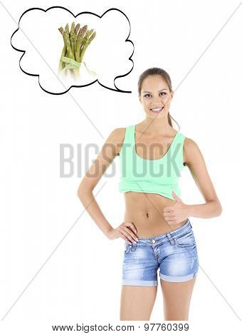 Beautiful girl with thoughts about healthy food, isolated on white