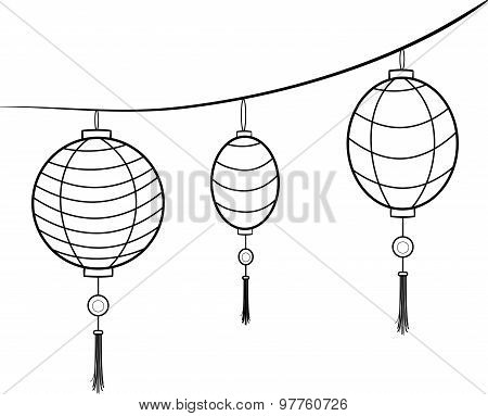 Vector carnival chinese hanging lanterns