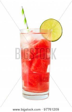 Watermelon lime detox water isolated on white