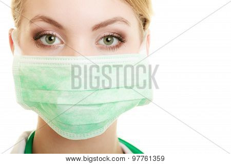 Young Woman Doctor In Face Surgical Mask
