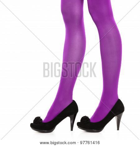 Woman Long Legs And Violet Stockings Isolated