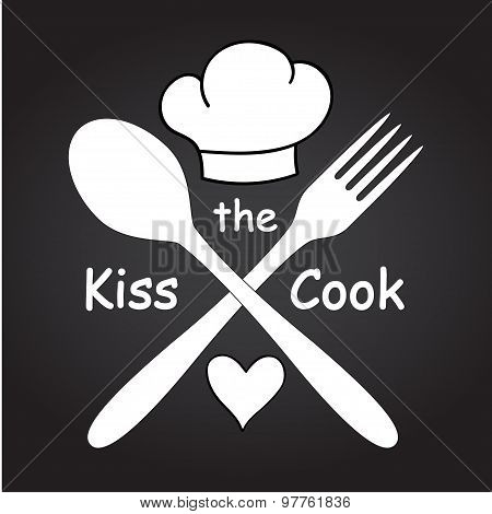 Kitchen art Wall decor nspirational quote Kiss the cook Crossed spoon and fork, chef hat and heart