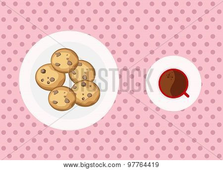 Chocolate chip cookies and coffee