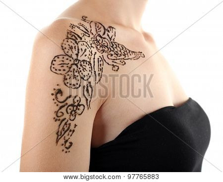 Shoulder painted with henna- Mehendi, isolated on white