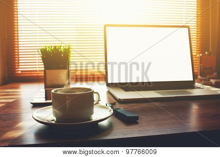 Business person net-book with blank screen for information content or text message
