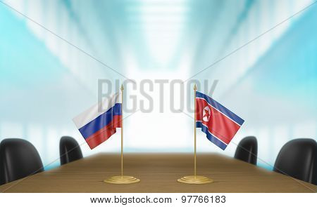 Russia and North Korea relations and trade deal talks 3D rendering