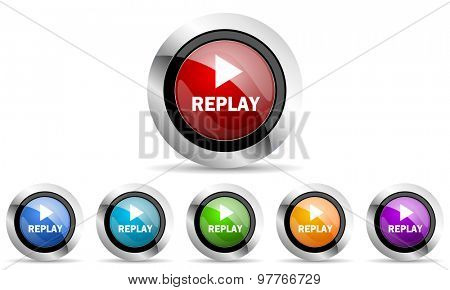 replay original modern design colorful icons set for web and mobile app on white background