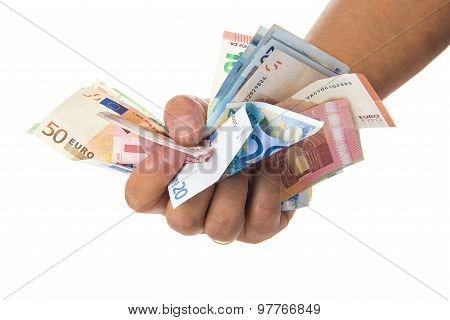 Hand Holding A Lot Of Money