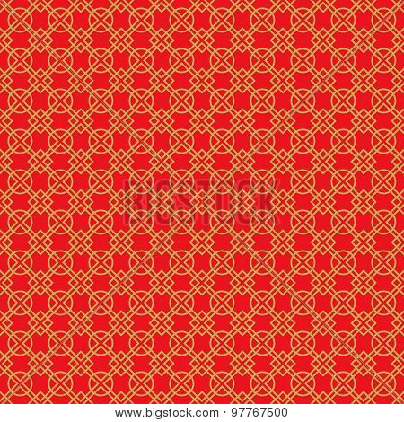 Golden seamless vintage Chinese window tracery round and square pattern background.