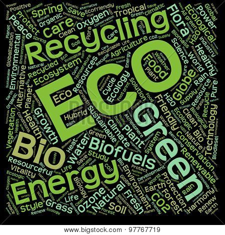 Concept or conceptual ecology, recycle or energy text word cloud isolated on black background