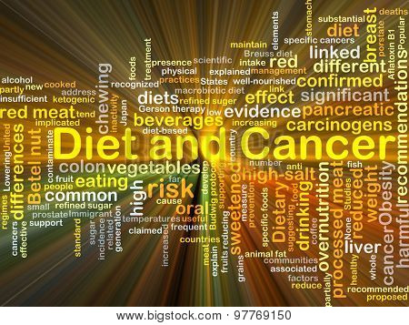 Background concept wordcloud illustration of diet and cancer glowing light