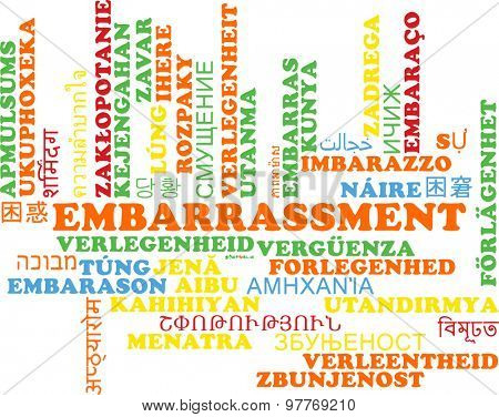 Background concept wordcloud multilanguage international many language illustration of embarrassment