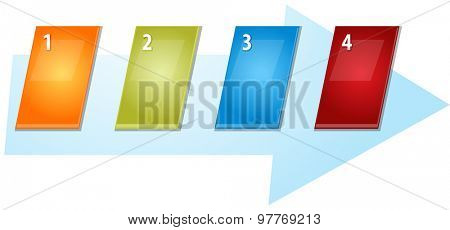 blank business strategy concept infographic diagram slanted numbered sequence arrow illustration Four 4