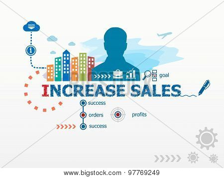 Increase Sales Concept And Business Man.