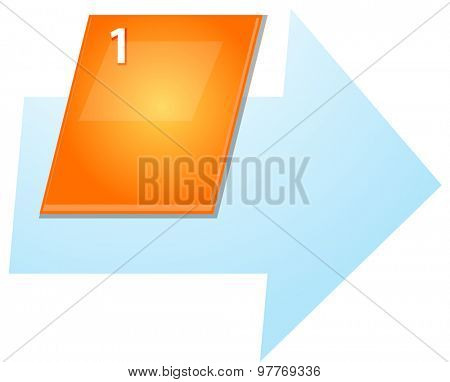 blank business strategy concept infographic diagram slanted numbered sequence arrow illustration One 1