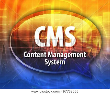 Speech bubble illustration of information technology acronym abbreviation term definition CMS Content Management System