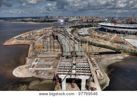 Cable-stayed Bridge Across Malaya Neva River During Construction, Saint-petersburg, Russia.