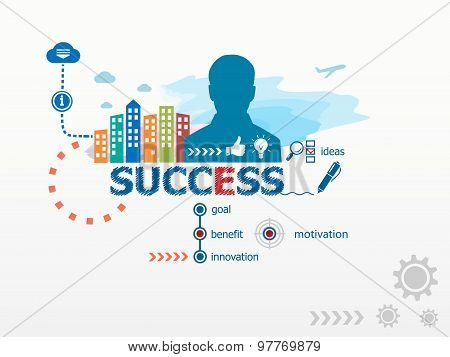 Success Concept And Business Man.