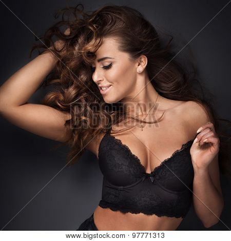 Sexy Brunette Beauty Posing.