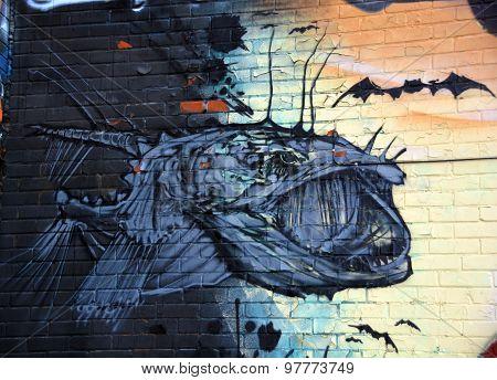 Street art Montreal prehistoric fish