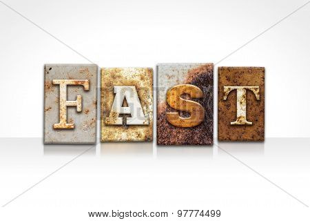 Fast Letterpress Concept Isolated On White