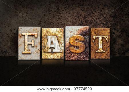 Fast Letterpress Concept On Dark Background