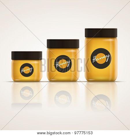 Vector realistic illustration of honey or jam jar collection. Yellow is global color. Easy editable. CMYK mode. Print ready.