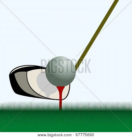 Stick and ball for golf. The illustration on light blue background.