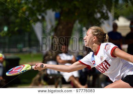 MOSCOW, RUSSIA - JULY 16, 2015: Irina Glimakova of Russia in the match of the ITF Beach Tennis World Team Championship against Greece. Russia won 3-0