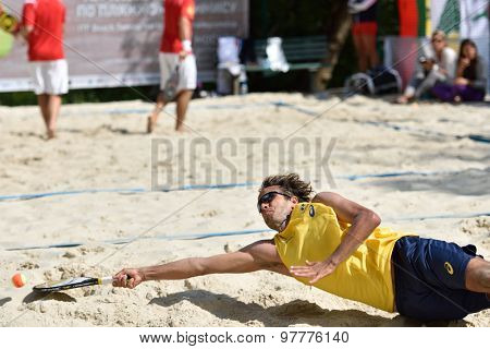 MOSCOW, RUSSIA - JULY 16, 2015: Vinicius Font of Brazil in the match of the Beach Tennis World Team Championship against Hungary. Brazil won the match 3-0