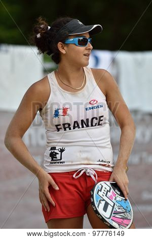 MOSCOW, RUSSIA - JULY 16, 2015: Mathilde Hoarau of France during the ITF Beach Tennis World Team Championship. 28 nations compete in the event this year