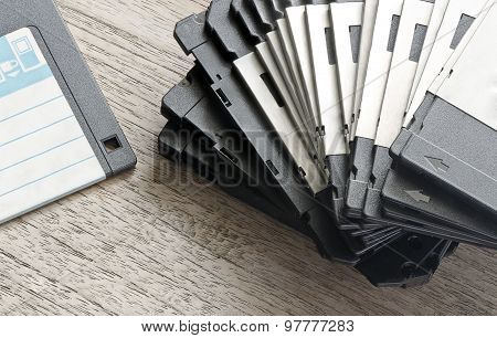 Stack Of Used Floppy Diskettes